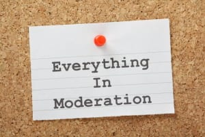Everything in Moderation lifestyle advice on a notice board